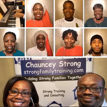 Chauncey and friends smile at a camera on a virtual call